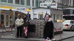 Checkpoint Charlie, one of the doors between East Berlin and West Berlin Stock Footage