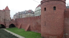 semicircular fortified outpost  Barbican in old town Warsaw, Poland - stock footage