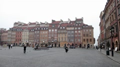 Panoramic view Historic Centre old town of Warsaw, Poland Stock Footage