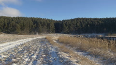 Winter road. Beautiful winter nature Stock Footage