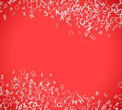 Abstract white alphabet ornament frame isolated on red background - stock illustration