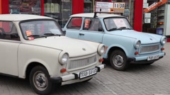 German cars trabi trabant parked in Berlin street Stock Footage