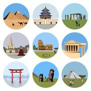 World landmarks flat icon set - stock illustration