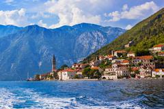 Village Perast on coast of Boka Kotor bay - Montenegro Stock Photos