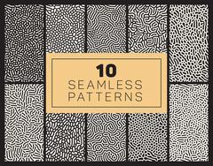 Ten Vector Seamless Black and White Organic Patterns Stock Illustration