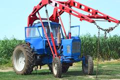 Tractor to collect hay Stock Photos