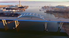 Breathtaking aerial view of Tower Drive Bridge, Green Bay Wisconsin Stock Footage