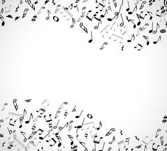 Abstract musical frame and border with black notes on white background - stock illustration