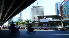 View on a busy Crossroad in Bangkok Stock Footage