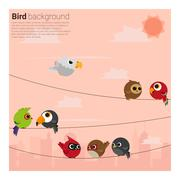 birds on wires background - stock illustration