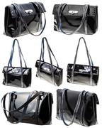 Set from black patent leather ladies bag isolated Stock Photos