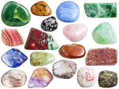 Set of ametrine, peridot, olivine, quartz, etc gem Stock Photos