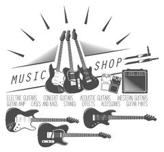 set of guitar shop, electric, bass, amp, pedal - stock illustration