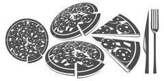 set of flat pizza, fork, knife - stock illustration