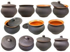 Set of ceramic pots from black unglazed clay Stock Photos