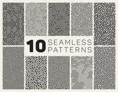 Ten Vector Seamless Black and White Organic Patterns - stock illustration