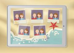 Tablet with pictures placeholders on the beach Stock Illustration