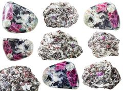 Set of rocks with Corundum crystals isolated Stock Photos