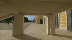 Passageway under the staircase of Schönbrunn Palace, Vienna Stock Footage
