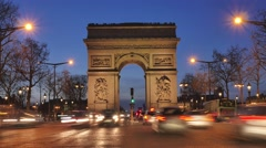 Arc de triomphe on the Champs Elysées-Paris-France (Time Lapse) Stock Footage