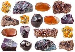 Set of varuous garnet crystals and gemstones Stock Photos