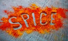 Coulinary concept with lettering spice - stock photo