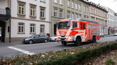 Fire truck, fire department Wiesbaden - stock footage