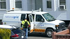 National Grid, natural gas electricity repairman Stock Footage