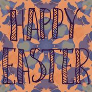Print Happy Easter Letters Print on Ornamental flower Background - stock illustration