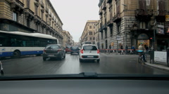 Driving on Via Roma with shops and hotels in Palermo, Sicily Stock Footage