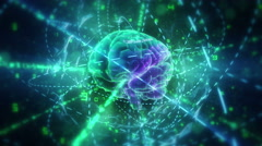 Human brain (with animated files inside) in cyberspace. Stock Footage