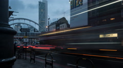 Busy London Street. Shoreditch, London, Day to Night 4K Time Lapse Dolly Shot Stock Footage