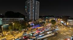 Busy London Street. Shoreditch, London, 4K Time Lapse camera pans Stock Footage