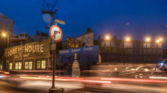 Busy London Street. Shoreditch, London, Day to Night 4KTime Lapse Dolly Shot Stock Footage
