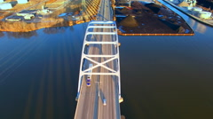 Scenic Leo Frigo Memorial Bridge, Green Bay, Wisconsin, Tower Drive Stock Footage