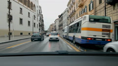 Stuck in traffic in Palermo, Sicily. City bus goes by. - stock footage