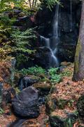 waterfall garden maple trees in autumn season - stock photo