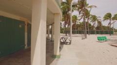 Crandon Park Beach Cabanas motion video Stock Footage