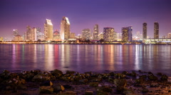 Time lapse of San Diego, California, USA skyline over the bay. Stock Footage