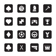 Stock Illustration of gray flat game icon set on rounded rectangle