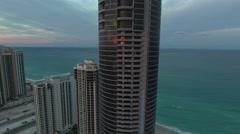 Drone over Porsche Design Tower Stock Footage