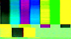 television color bars VHS bad signal green screen - stock footage