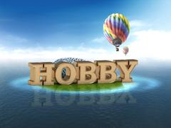 HOBBY bright word, night sky, air ball, sea on white background - stock illustration