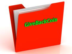 GiveBackCoin- bright green letters on red paperwork folder witch paper list o - stock illustration