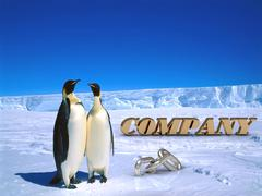 Stock Illustration of COMPANY  Two foolish penguins and big silver chain on driftage ice on north p