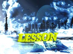 LESSON  bright word, night sky, town, moon, winter on white background - stock illustration