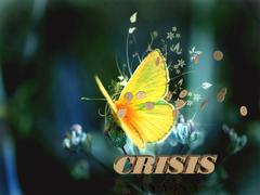 CRISIS  Bright word, Bright beautiful moth or butterfly on fairy tale backgro - stock illustration