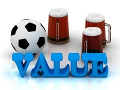 VALUE bright word, football, 3 cup beer on white background - stock illustration