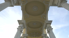 Low angle view of the Gloriette Monument's decorated ceiling, Vienna - stock footage