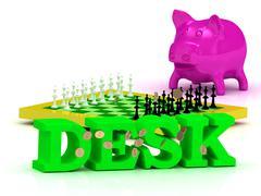 DESK bright word, money, pink piggy, yellow chess on white background - stock illustration